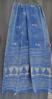 Blue Leaf Print Chanderi Saree with Blouse