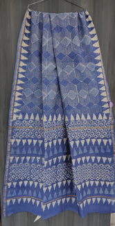 Blue Shape Print Chanderi Saree with Blouse