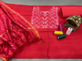 Red Zig Zag Print Chanderi Unstitched Suit Set with Cotton Bottom