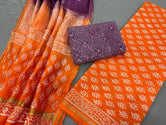Orange Flower Print Chanderi Unstitched Suit Set with Cotton Bottom
