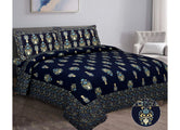 Designer Blue Gold Boota  print XL king Size Pure Cotton Bed Sheet