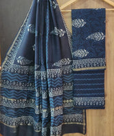 Blue Leaf Print Chanderi Unstitched Suit Set with Chanderi Dupatta