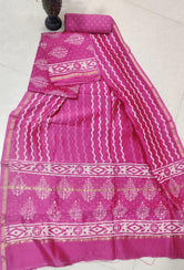 Pink Stripes Chanderi Silk Unstitched Suit Set with Chanderi Silk Dupatta