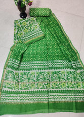 Green Flower Chanderi Silk Unstitched Suit Set with Chanderi Silk Dupatta