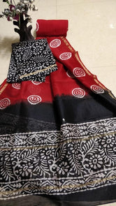 Red & Black Printed Chanderi Silk Unstitched Suit Set with Chanderi Silk Dupatta