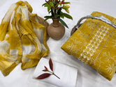Yellow Flower Print Gota Work Cotton Unstitched Suit Set with Chiffon Dupatta