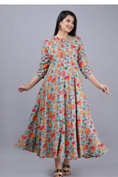 Sea Green Flower Print Long Kurti