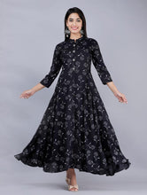 Black Flower Print Long Kurti