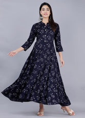 Blue Flower Print Long Kurti