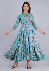Sky Blue Flower Print Long Kurti