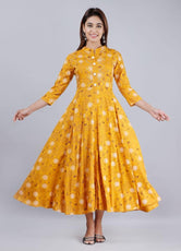 Yellow Buta Print Long Kurti