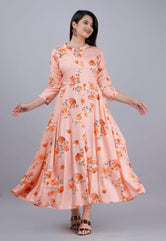 Peach Flower Print Long Kurti