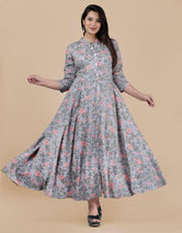 Gray Flower Print Long Kurti