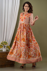 Multicolor Flower Print Long Kurti
