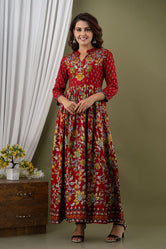 Red Flower Print Long Kurti