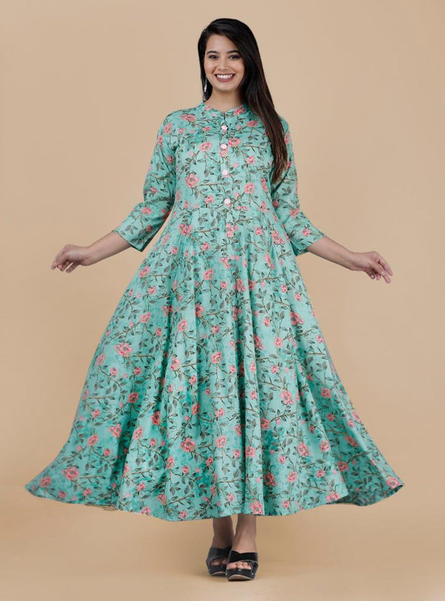 Green Flower Print Long Kurti