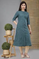 Dark Blue Flower Print Cotton A - Line Kurti