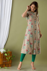 Gray Flower Print Cotton A - Line Kurti