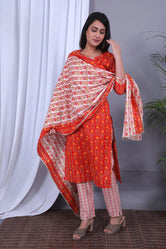 Red Flower Print Cotton Kurti Pant with Dupatta
