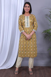 Yellow & Green Flower Print Cotton Kurti Pant with Dupatta
