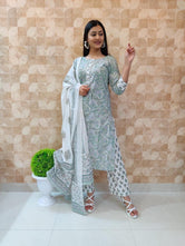 Gray Flower Print Cotton Kurti Pant with Dupatta