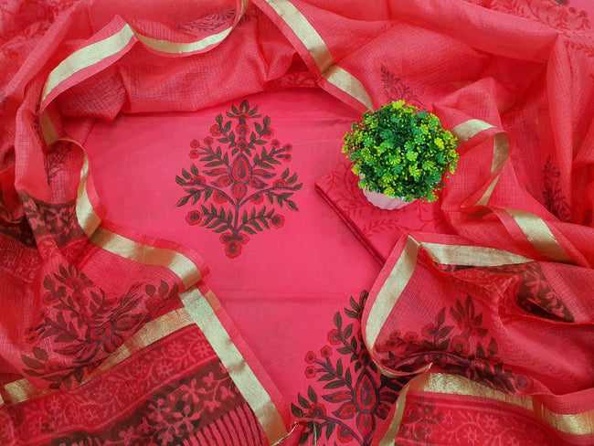 Red Leaf Print Cotton Unstitched Suit Set with Silk Dupatta