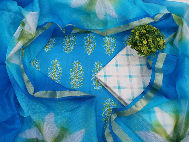 Blue Leaf Print Cotton Unstitched Suit Set with Silk Dupatta