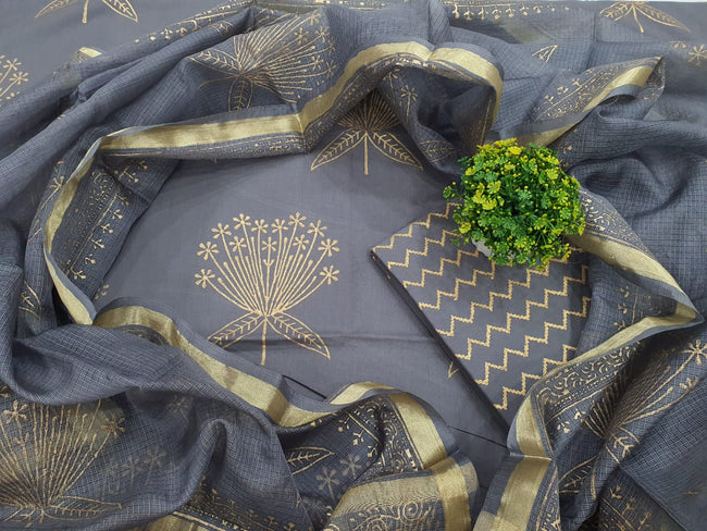 Grey Leaf Print Cotton Unstitched Suit Set with Silk Dupatta