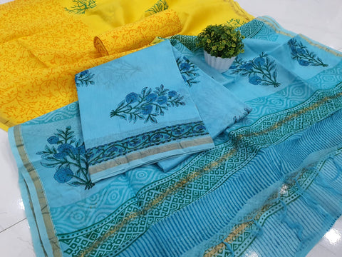 Blue Flower Print Chanderi Silk Unstitched Suit Set with Chanderi Silk Dupatta