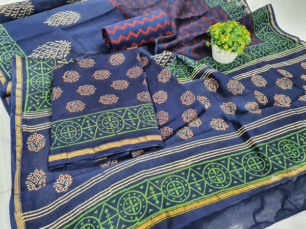 Blue Leaf Print Chanderi Silk Unstitched Suit Set with Chanderi Silk Dupatta