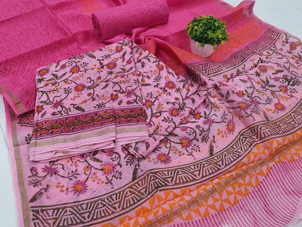 Violet Leaf Print Chanderi Silk Unstitched Suit Set with Chanderi Silk Dupatta