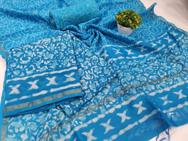 Blue Printed Chanderi Silk Unstitched Suit Set with Chanderi Silk Dupatta
