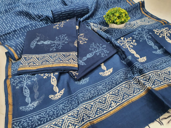Blue Tree Print Chanderi Silk Unstitched Suit Set with Chanderi Silk Dupatta