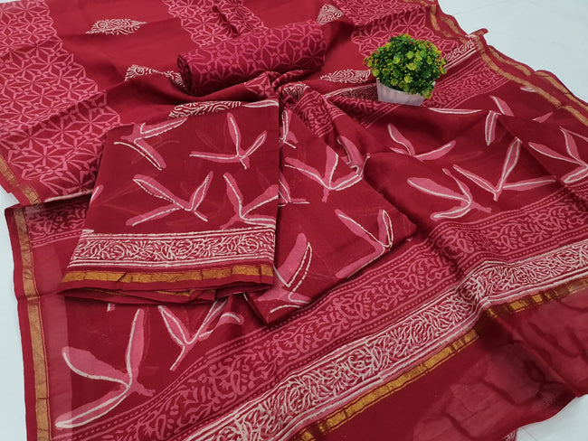 Brown Leaf Print Chanderi Silk Unstitched Suit Set with Chanderi Silk Dupatta
