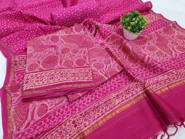 Red Violet Printed Chanderi Silk Unstitched Suit Set with Chanderi Silk Dupatta