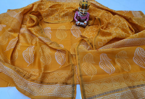Yellow Leaf Print Chanderi Silk Unstitched Suit Set with Chanderi Silk Dupatta