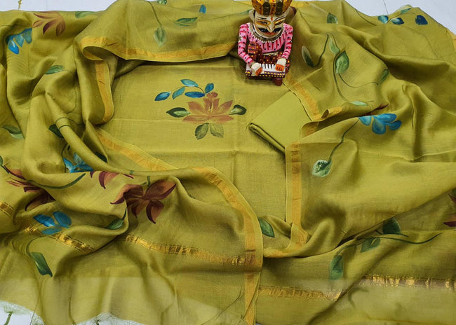 Mehndi Green Flower Print Chanderi Silk Unstitched Suit Set with Chanderi Silk Dupatta