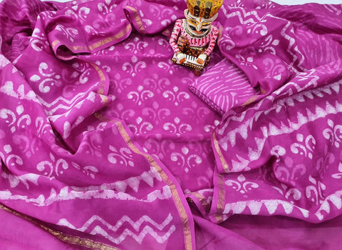 Violet Printed Chanderi Silk Unstitched Suit Set with Chanderi Silk Dupatta