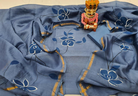 Grey & Blue Flower Print Chanderi Silk Unstitched Suit Set with Chanderi Silk Dupatta