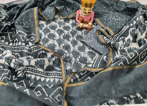 Grey Printed Chanderi Silk Unstitched Suit Set with Chanderi Silk Dupatta