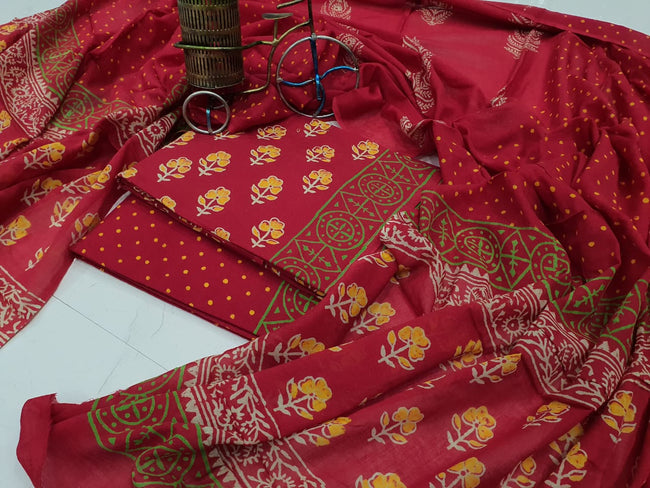 Red Flower Print Cotton Suit Set with Mul Cotton Duppatta