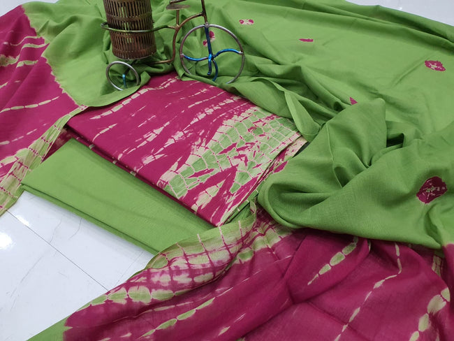 Green Printed Cotton Suit Set with Mul Cotton Duppatta