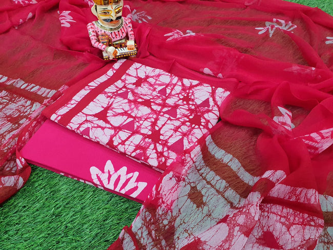 Dark Pink Printed Cotton Suit Set with Chiffon Dupatta