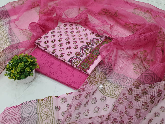 Pink Flower Print Cotton Suit Set with Kota Doriya Dupatta