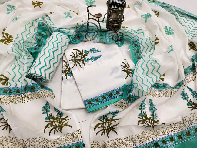 Sea Green Leaf Print Cotton Suit Set with Mul Cotton Duppatta