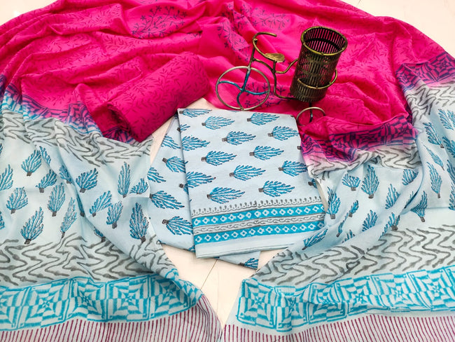 Sky Blue Leaf Print Cotton Suit Set with Mul Cotton Duppatta