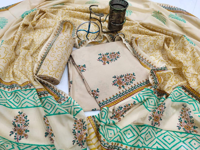 Light Brown Flower Print Cotton Suit Set with Mul Cotton Duppatta