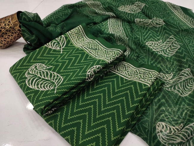 Green Leaf Hand Block Print Cotton Suit Set with Chiffon Dupatta