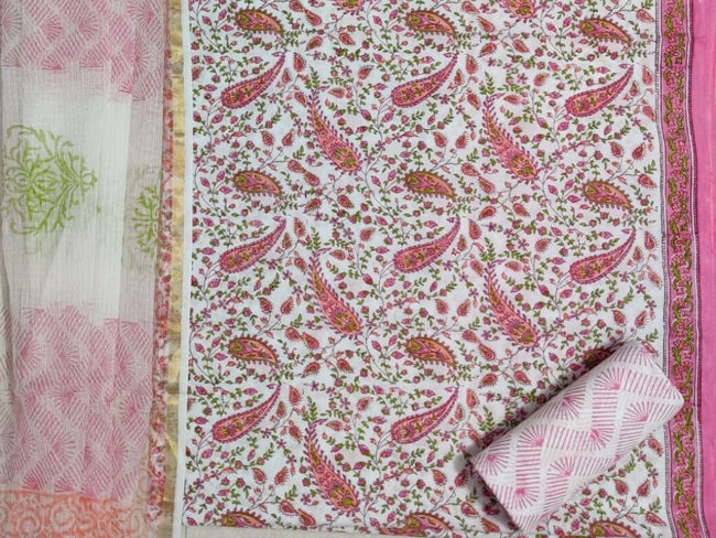 Pink Leaf Print Cotton Suit Set with Pure Doriya Duppatta