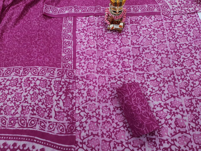Dark Pink Flower Print Cotton Suit Set with Cotton Duppatta